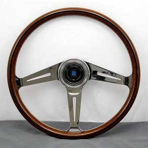 "Nardi Steering Wheel - Classic Wood - 367mm (14.45 inches) - Mahogany Wood - Polished ""Side"" Spokes - Classic Horn Button and Trim Ring - Part # 5049.36.3000 (CLASSIC)"