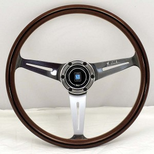 Nardi Steering Wheel - Classic - 360mm (14.17 inches) - Mahogany Wood with Polished Spokes - Trim Ring with Screws at Sight - Part # 5061.36.3090