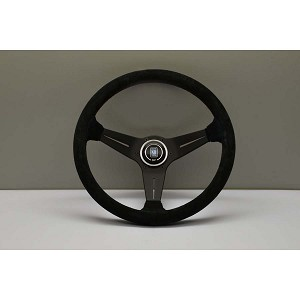Nardi Steering Wheel - Deep Corn - 350mm (13.78 inches) - Black Suede Leather with Blue Cross-Stitching - Black Spokes - Classic Horn Button - Part # 6069.35.2085