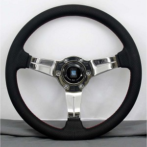 Nardi Steering Wheel - Deep Corn - 330mm (12.99 inches) - Black Perforated Leather with Red Stitching - Polished Spokes - Classic Horn Button - Part # 6069.33.3093