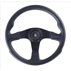Nardi Steering Wheel - Challenge - 350mm (13.78 inches) - Black Leather / Black Perforated Leather with Black Trim Ring and Spokes - Part # 6089.35.2071
