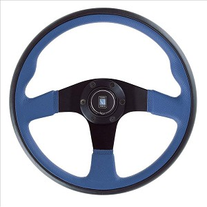 Nardi Steering Wheel - Twin Line - 350mm (13.78 inches) - Black Leather and Blue Perforated Leather - Black Spokes - Part # 6092.35.2073