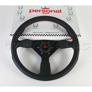 Personal Steering Wheel - Grinta - 350 mm Black Leather with Red Stitching