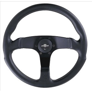 Personal Steering Wheel - Fitti E3 - 350mm (13.78 inches) - Black Leather with Black Stitching - Black Spokes - Part # 6408.35.2071