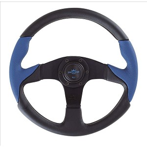 Personal Steering Wheel - Thunder - 350mm (13.78 inches) - Black Leather / Blue Perforated Leather - Black Spokes - Part # 6520.35.2073