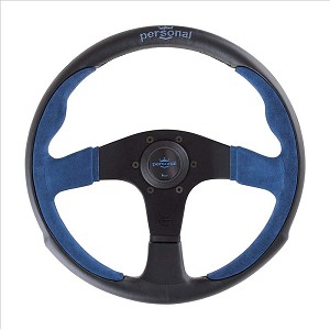 Personal Steering Wheel - Pole Position - 350mm (13.78 inches) - Black Leather / Blue Suede Leather - Black Spokes - Part # 6521.35.2003