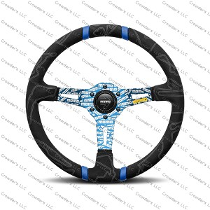 MOMO Street Steering Wheel - Ultra - Premium Race Track Microfiber Grip w/ Blue Dual Center Stripes and Blue MOMO Etched Spokes - Part # ULT35BK0BU